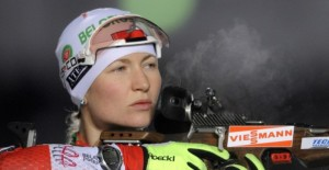 Darya Domracheva of Belarus competes at the shooting stand to place second in the women's 7,5 km sprint event of the IBU biathlon World Cup in Oberhof, eastern Germany on January 6, 2012. Magdalena Neuner of Germany won the competition ahead of Darya Domracheva (2nd) of Belarus and Olga Zaitseva (3rd) of Russia. AFP PHOTO / ROBERT MICHAEL (Photo credit should read ROBERT MICHAEL/AFP/Getty Images)