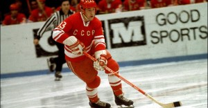 Soviet hockey player Boris Mikhailov of Team Russia skates with the puck during the Summit Series against Team Canada, 1972. (Photo by Melchior DiGiacomo/Getty Images)