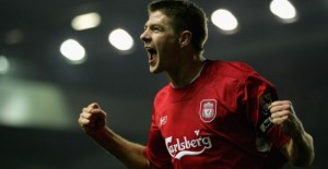 LIVERPOOL, UNITED KINGDOM - FEBRUARY 01:  Steven Gerrard of Liverpool celebrates his goal during the Barclays Premiership match between Liverpool and Birmingham at Anfield on February 1, 2006 in Liverpool, England.  (Photo by Jamie McDonald/Getty Images)