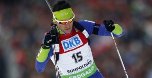 Jakov Fak from Slovenia competes during the men's 20 km individual race at the Biathlon World Championships in Ruhpolding March 6, 2012. REUTERS/Michael Dalder(GERMANY - Tags: SPORT BIATHLON)