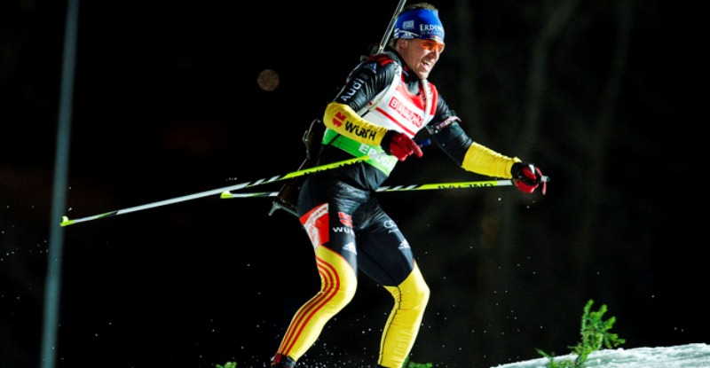 Germany's Michael Greis competes in the men's Biathlon 20km individual race on November 30, 2011 in Ostersund, Sweden. AFP PHOTO/JONATHAN NACKSTRAND (Photo credit should read JONATHAN NACKSTRAND/AFP/Getty Images)